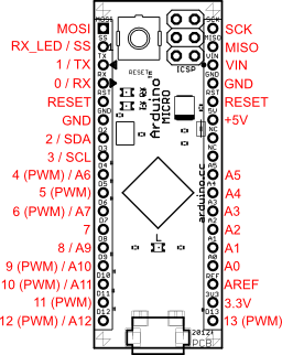 Плата Arduino Micro распиновка