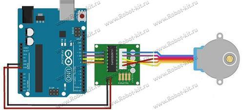 Схема подключения платы Arduino UNO R3, модуля драйвера ULN2003 и шагового двигателя 28BYJ-48-5V